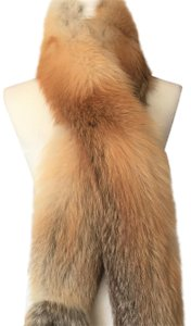 """Bergdorf Goodman RED FOX STOLE 86.5"""" - TWO THICK TAILS"""
