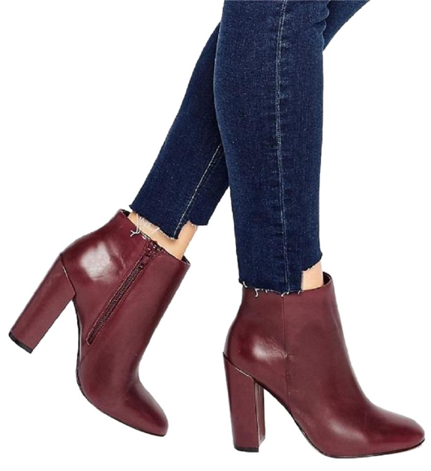 popular stores hot-selling clearance real deal ALDO Burgundy Aravia Heeled Leather Ankle Boots/Booties Size US 8.5 Regular  (M, B)