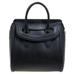 Alexander McQueen Leather Fine Double Carry Tote in Black