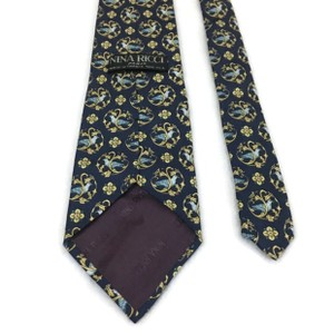 Nina Ricci Black/Gold Men's Silk Luxury Necktie Floral France Paris Tie/Bowtie