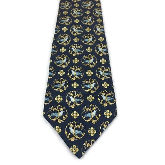 Nina Ricci Black/Gold Men's Silk Luxury Necktie Floral France Paris Tie/Bowtie Image 1