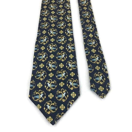 Nina Ricci Black/Gold Men's Silk Luxury Necktie Floral France Paris Tie/Bowtie Image 3