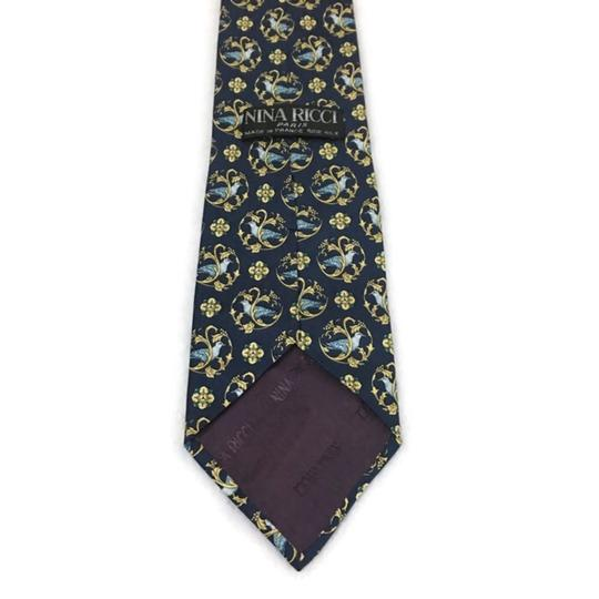 Nina Ricci Black/Gold Men's Silk Luxury Necktie Floral France Paris Tie/Bowtie Image 4