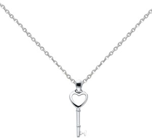 Top Gold & Diamond Jewelry 14k White Gold Key to My Heart Pendant 1.2mm Cable Chain - 18''