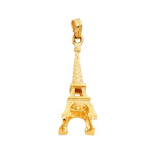 Top Gold & Diamond Jewelry 14k yellow gold Paris Eiffel Tower Pendant