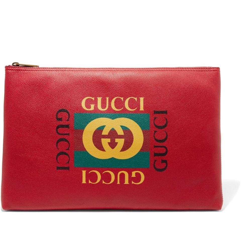cb1fad97f5f Gucci Printed Pouch Red Leather Clutch - Tradesy