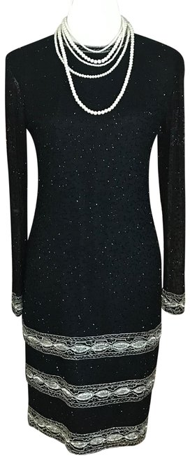 Item - Black and Silver Beaded Mid-length Cocktail Dress Size 4 (S)
