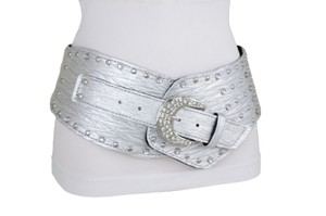 Alwaystyle4you Women Silver Western Unique Belt Hip Waist Wide Band Metal Studs Bling