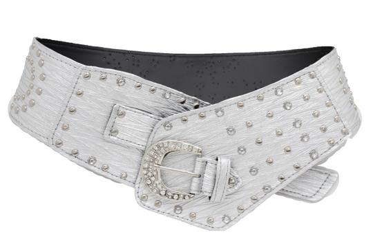 Alwaystyle4you Women Silver Western Unique Belt Hip Waist Wide Band Metal Studs Bling Image 2