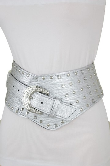 Alwaystyle4you Women Silver Western Unique Belt Hip Waist Wide Band Metal Studs Bling Image 4