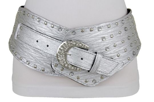 Alwaystyle4you Women Silver Western Unique Belt Hip Waist Wide Band Metal Studs Bling Image 6