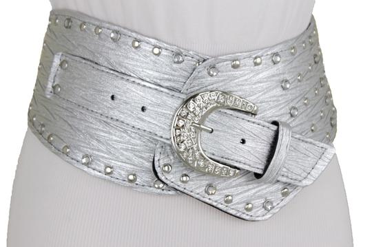 Alwaystyle4you Women Silver Western Unique Belt Hip Waist Wide Band Metal Studs Bling Image 9