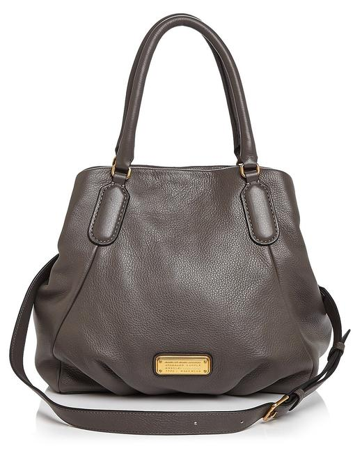 Item - New Q Fran Italian Convertible Satchel Purse (New with Tags) Aluminum Grey/Gold Hardware Leather Tote