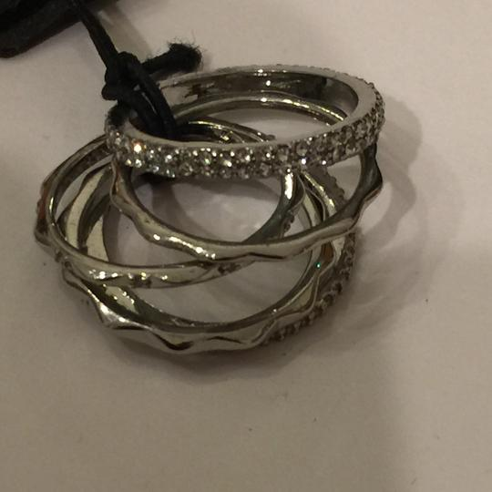 Ann Taylor Ann Taylor crystal stacked ring set size 6 Image 5