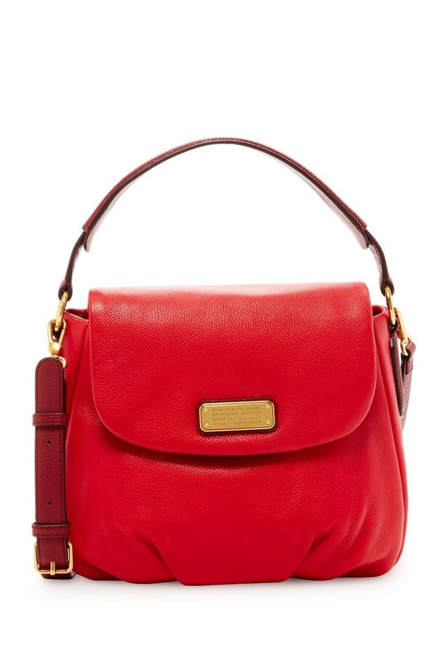 36b32cbfe4 Marc by Marc Jacobs New Q Natasha Rosey Red Multi Red-rosy Color Block  Leather Cross Body Bag