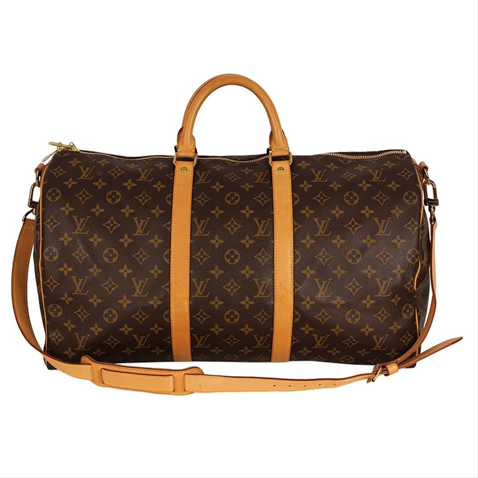 Louis Vuitton Keepall 50 Monogram Leather Canvas Duffle Brown Travel Bag ... 5ccef7e38cf75