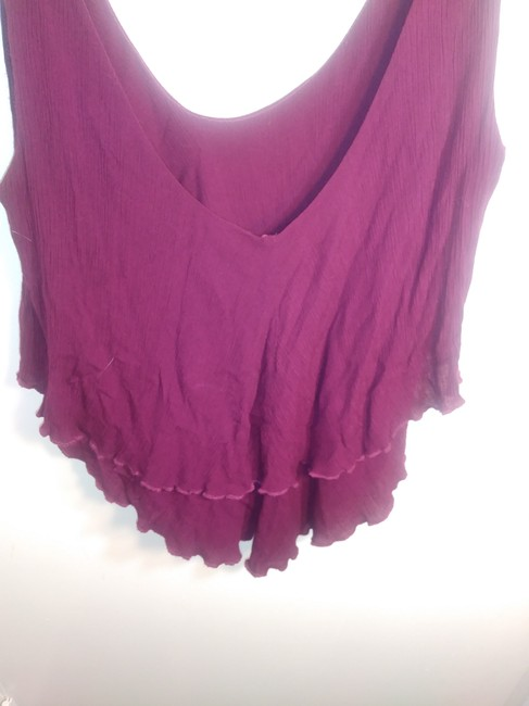 Free People Plunge Tiered Casual Scoop Back Rayon Top Pink Image 2