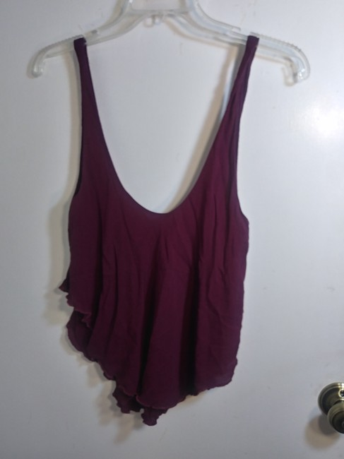 Free People Plunge Tiered Casual Scoop Back Rayon Top Pink Image 3
