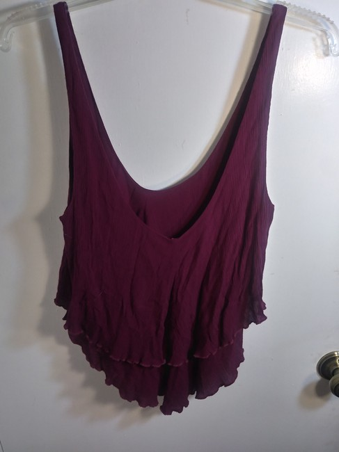 Free People Plunge Tiered Casual Scoop Back Rayon Top Pink Image 4