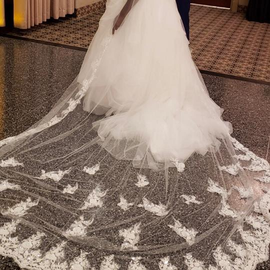 White Long Cathedral Style Bridal Veil Image 1