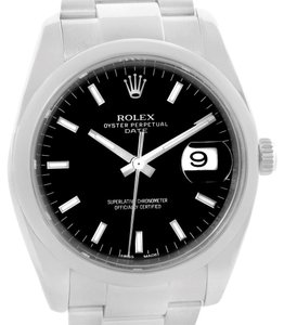 Rolex Rolex Date Stainless Steel Black Baton Dial Mens Watch 115200