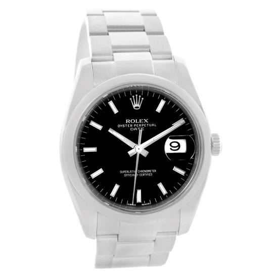 Rolex Rolex Date Stainless Steel Black Baton Dial Mens Watch 115200 Image 1