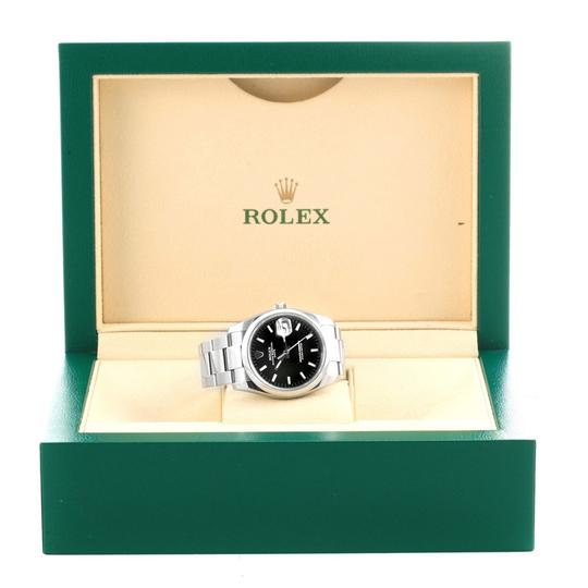 Rolex Rolex Date Stainless Steel Black Baton Dial Mens Watch 115200 Image 10