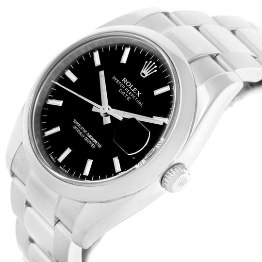 Rolex Rolex Date Stainless Steel Black Baton Dial Mens Watch 115200 Image 3
