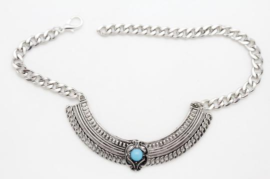 Alwaystyle4you Women Silver Boot Chain Bracelet Shoe Ethnic Turquoise Blue Beads Image 5