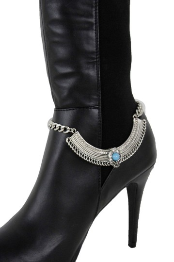 Alwaystyle4you Women Silver Boot Chain Bracelet Shoe Ethnic Turquoise Blue Beads Image 7