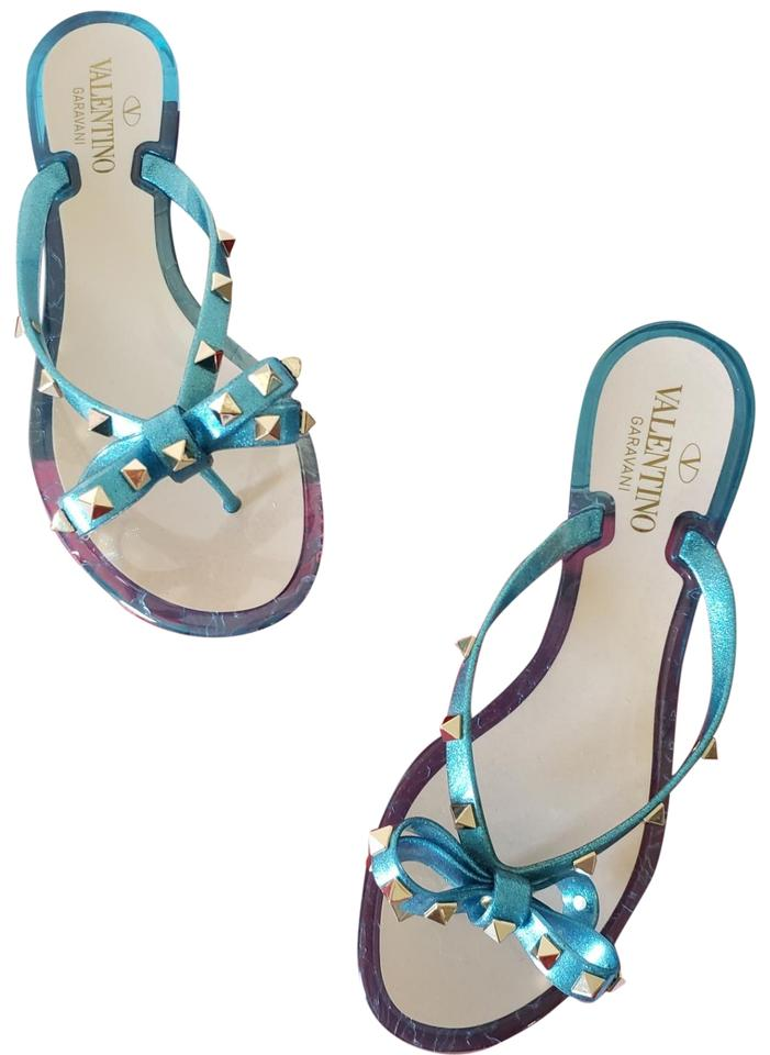 d6205795071 Valentino Blue Cerulean Jelly Thong Flipflop Sandals Size US 8 ...