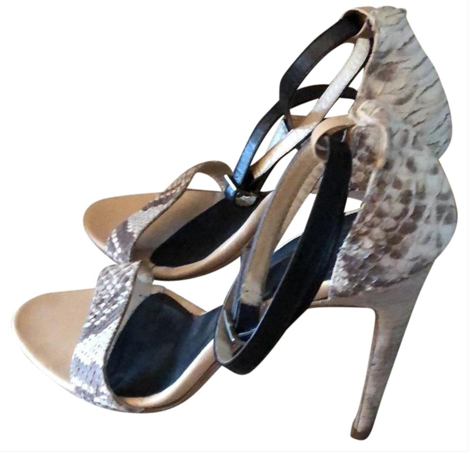 2328c411cd4 Tibi Black   Ivory Snakeskin Amber High Heel Sandals Size EU 39.5 ...
