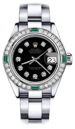 Preload https://img-static.tradesy.com/item/24177896/rolex-stainless-steel-men-s-black-36mm-datejust-diamond-and-emerald-bezel-watch-0-1-540-540.jpg