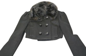 bebe Fur Removable Collar Pea Coat