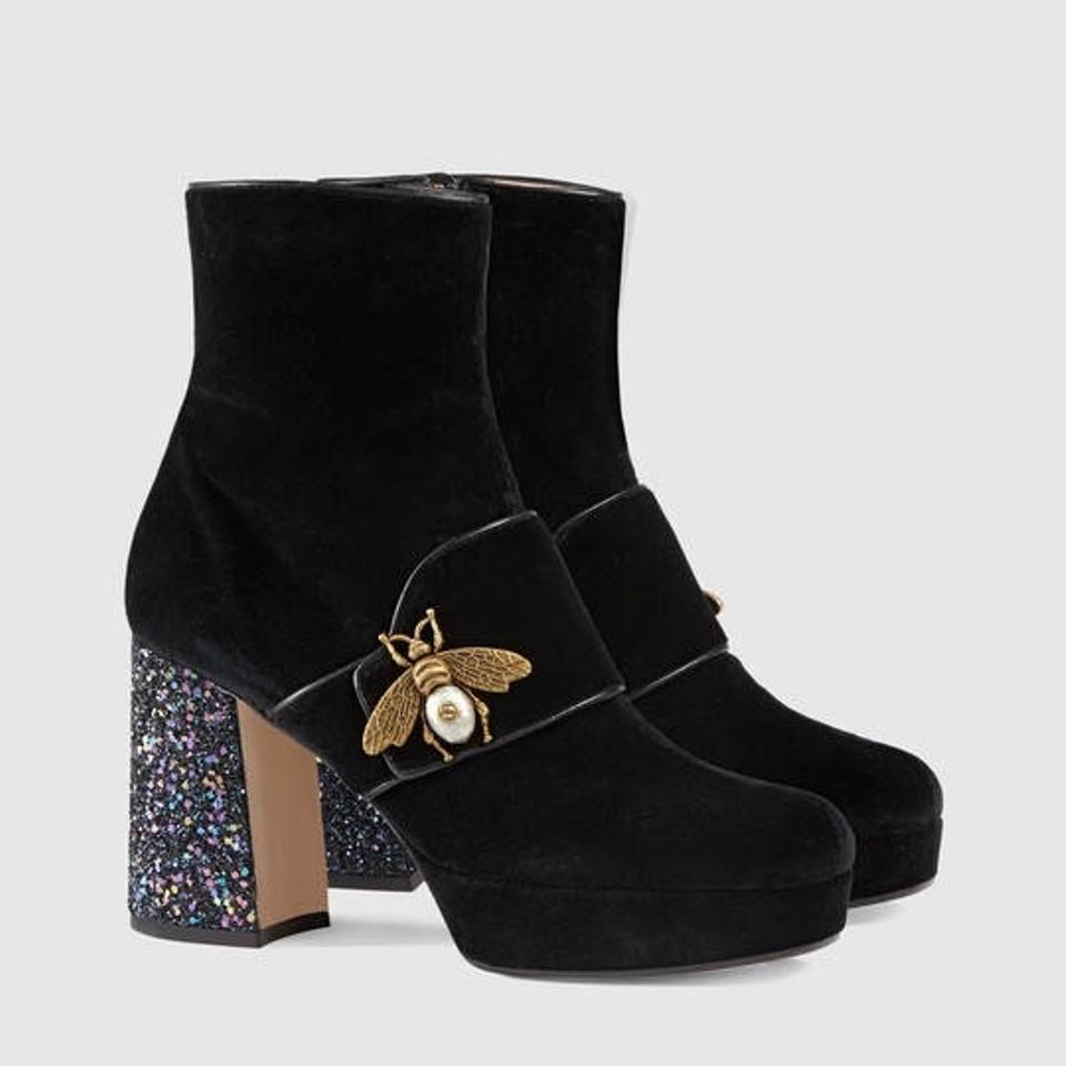 c8352ff9b Gucci Soko Gold Bee Velvet Ankle Boots/Booties Size EU 38 (Approx ...