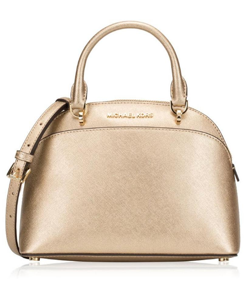 ff4b936295ae Michael Kors Emmy Small Dome Cindy Gold Leather Satchel - Tradesy