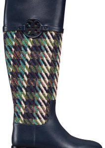 Tory Burch Leather Equestrian Tweed Bright Navy/Green Boots