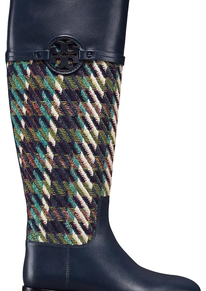 d967523f7db Tory Burch Bright Navy Green Miller Riding Tweed Boots Booties Size ...