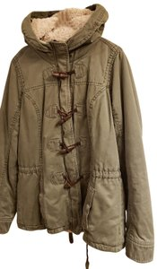 Abercrombie & Fitch Military Parka Sherpa Lining With Hood Zip-up And Button Up Made In Sri Lanka Fur Coat