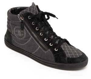 Chanel Hi Top Denim Suede Men's Sneaker Black Athletic