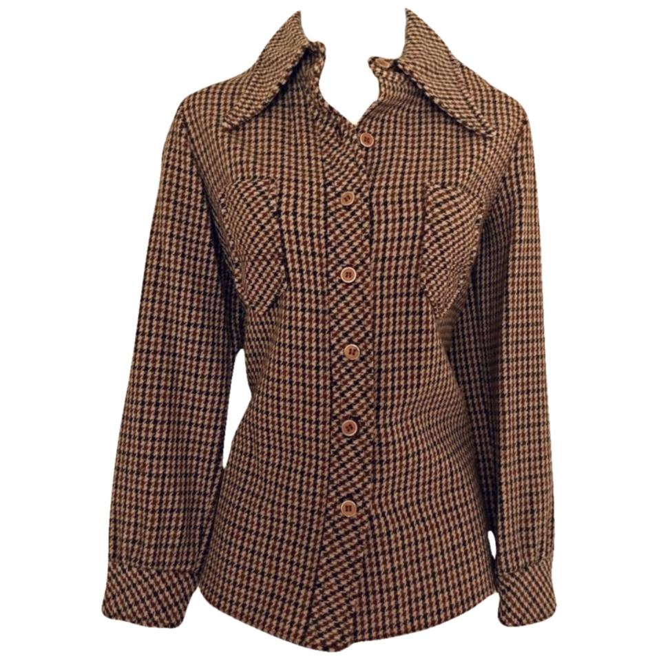 Brown Houndstooth Shirt Wool 60s 1960s Check Green Orange Button