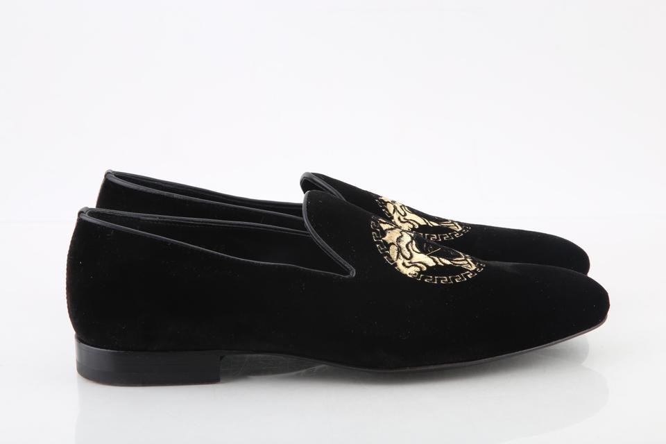 9a92822898d Versace Black Velvet Medusa Head Mens Loafers Shoes Image 11.  123456789101112