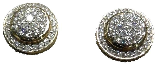 Item - Yellow Gold 18k 8mm Round Pave-plate Rim Diamond Earrings