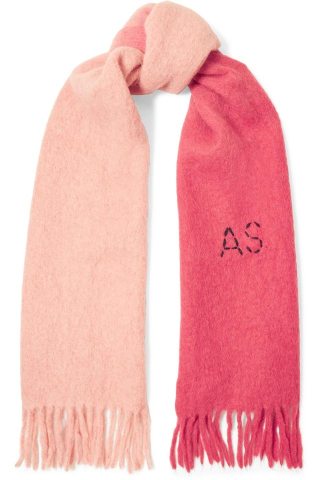 da183d7b Acne Studios Pink and Red Kelow Two-tone Embroidered Felt Scarf/Wrap ...