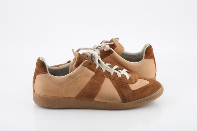 Item - Neutral Nude Calfskin Suede Replica Trainers Shoes