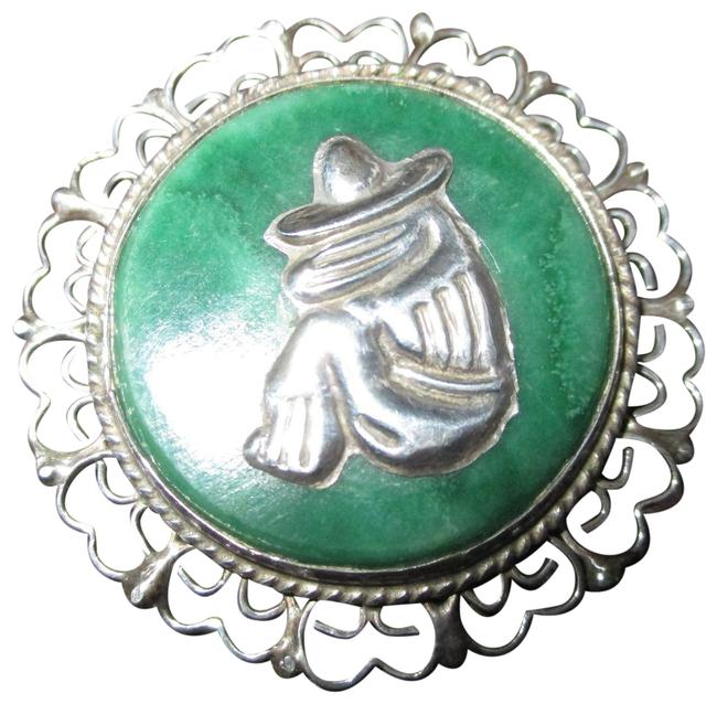 Item - Silver & Green Vintage Mexican with Stone Siesta Pin