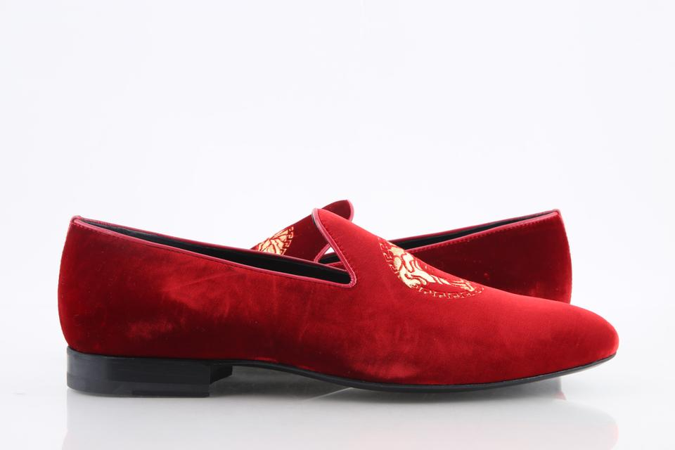 182955066bd Versace Red Medusa Head Velvet Loafers Shoes Image 0 ...