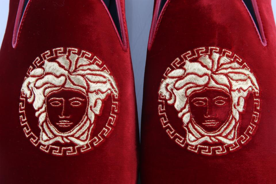 92ac0b69c22 Versace Red Medusa Head Velvet Loafers Shoes Image 11. 123456789101112