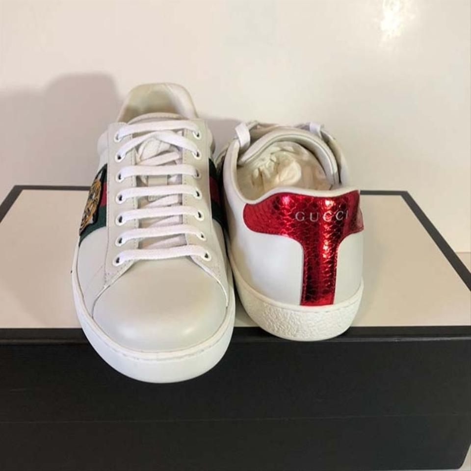 08a8756f1b3 Gucci White New Ace Embroidered Tiger Sneaker Leather Sneakers Size ...