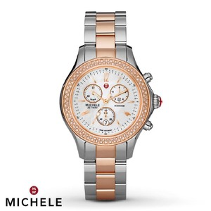 Michele $2500 NWT Jetway Rose Gold MOP watch MWW17A000017